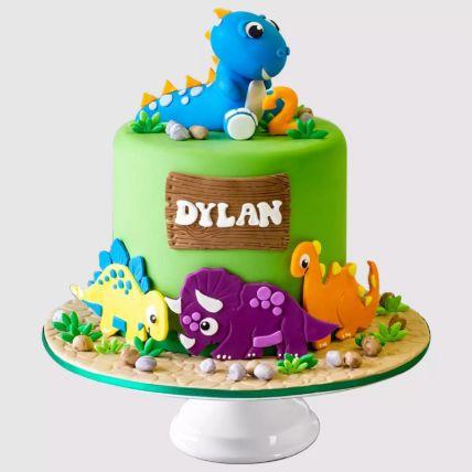 Colourful Dinosaur Red Velvet Cake 1.5 Kg