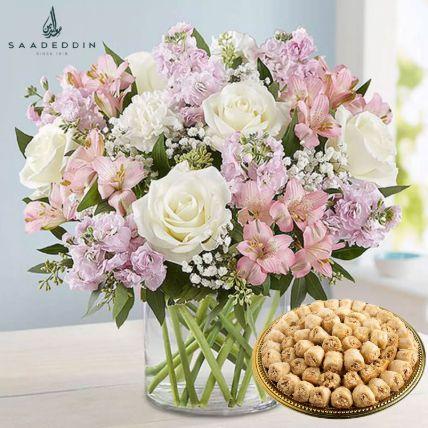 Delicate Flowers Vase And Half Kg Baklawa Sweets