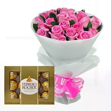Delicate Pink Roses & Ferrero Rocher 12 Pcs