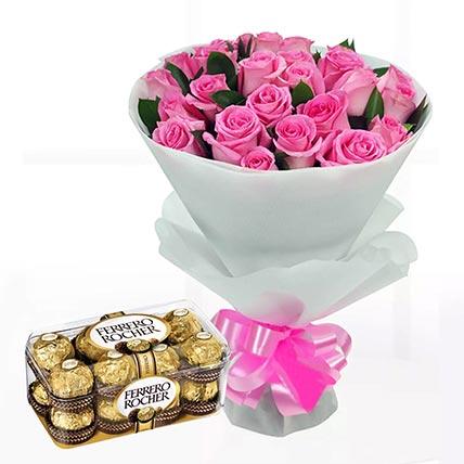 Delicate Pink Roses & Ferrero Rocher 16 Pcs