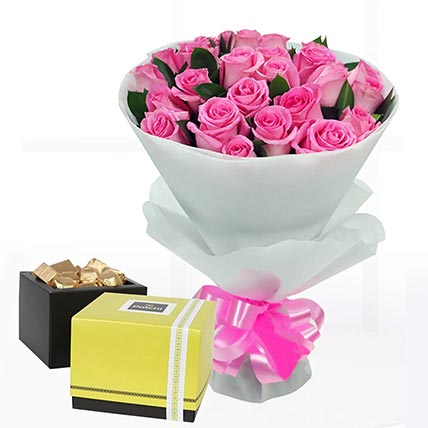 Delicate Pink Roses & Patchi Chocolates 750 gms
