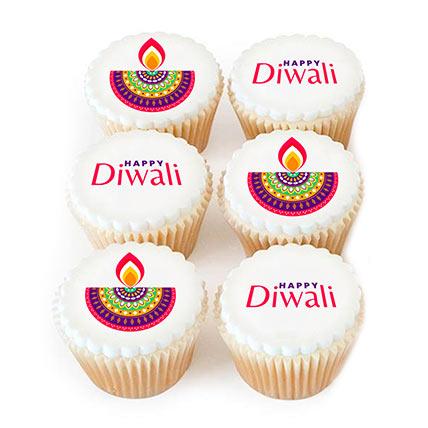 Diwali Diyas Chocolate Cupcakes 6 Pcs