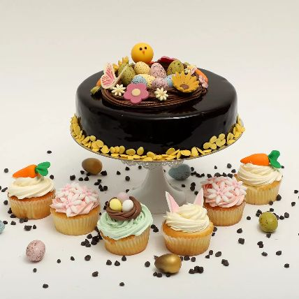 Easter Chocolate Truffle Cake 1 Kg And Cup Cakes Duo