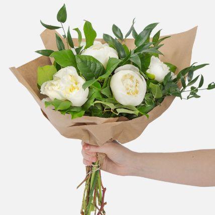 Elegant 5 White Peonies Bouquet