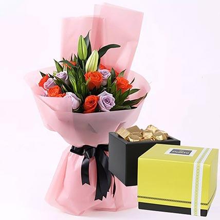 Elegant Flower Bouquet & Patchi Chocolates 500 gms