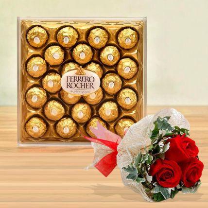 Ferrero Rocher Box & Love Roses Bunch