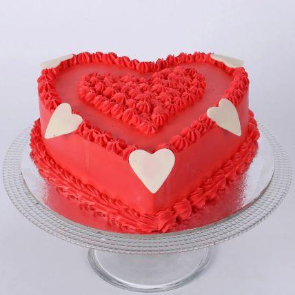 Floral Red Heart Cake 1.5 Kg