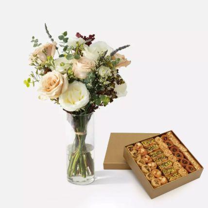 Flowers In Glass Vase With Baklawa Sweet Half Kg