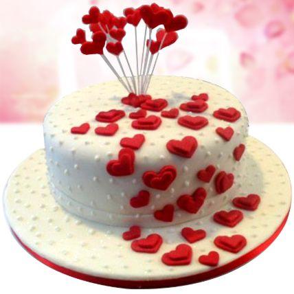 Flowing Hearts Red Velvet Fondant Cake 1 Kg