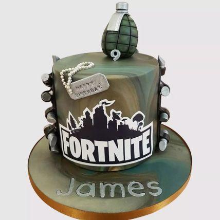 Fortnite Fondant Grenade Red Velvet Cake 2 Kg