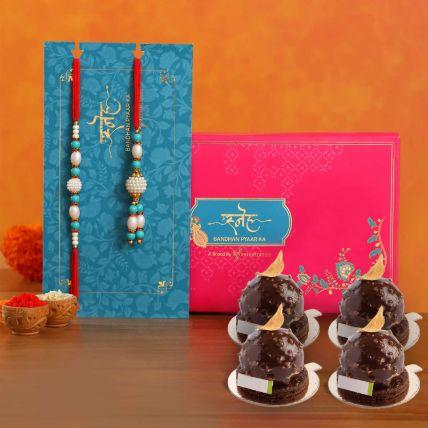 Golden Rocher 4 Pieces With Blue Pearl Rakhi Set