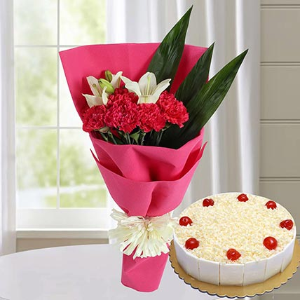 Graceful Bouquet & White Forest Cake 8 Portions