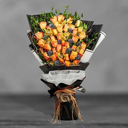 باقة الورود البرتقالية الكبيرة
