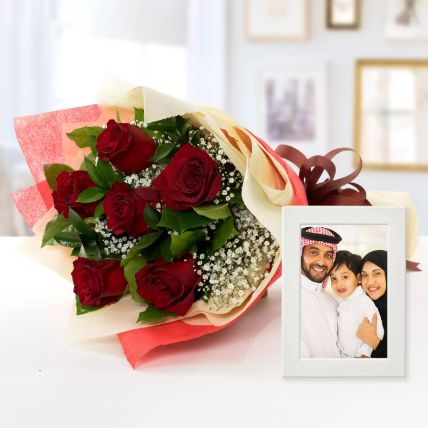 Happy Memories Photo Frame And Red Roses
