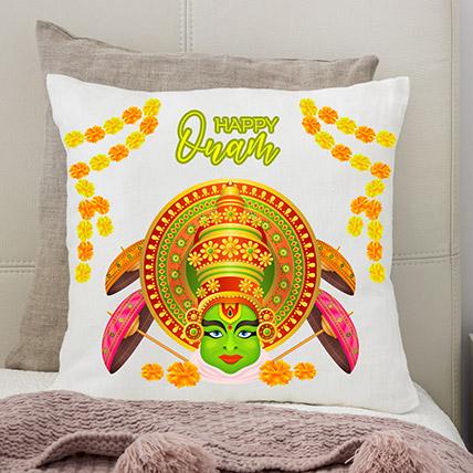 Happy Onam Kathakali White Printed Cushion