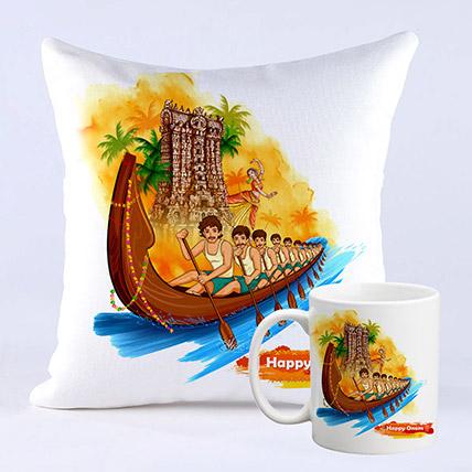 Happy Onam Vallam Kali Cushion And Mug Combo