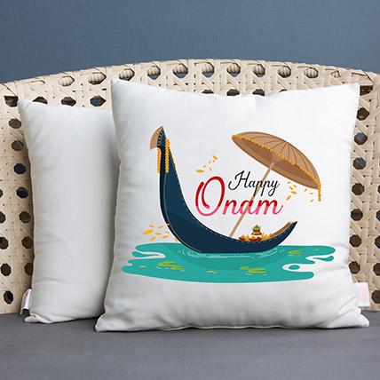 Happy Onam White Printed Cushion