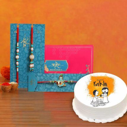 Happy Rakhi Half Kg Cake With Rakhi Set