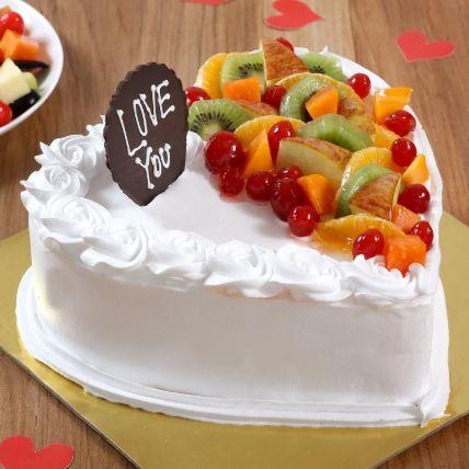 Heart Shaped Vanilla Fruit Cake 1 Kg