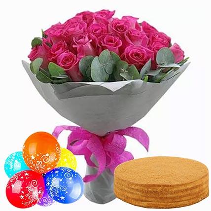 Honey Cake With Roses & Anniversary Balloons