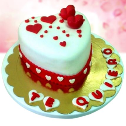 I Love You Vanilla Fondant Cake Half Kg