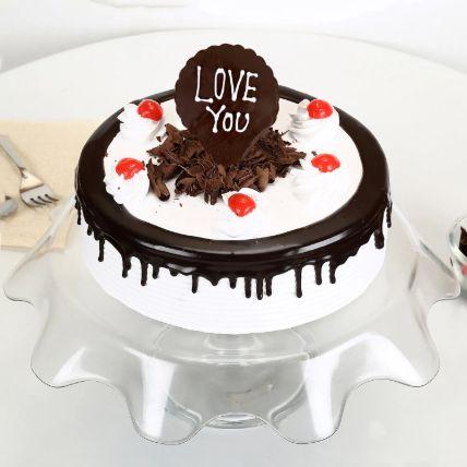 Love You Valentine Black Forest Cake 1 Kg