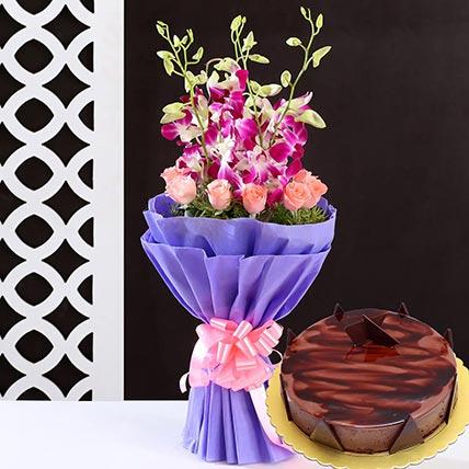 Lovely Flower Bunch & Choco Ganache Cake 12 Portions