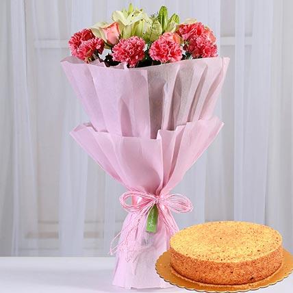 Lovely Flower Posy & Honey Cake 8 Portions