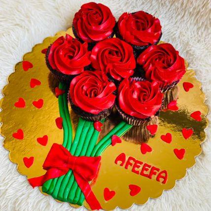 Marvelous Rose Cream Red Velvet Cup Cakes Set of 7