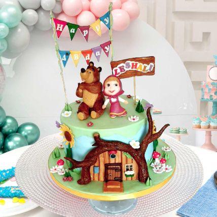 Masha And Bear Theme Cake 12 Portions Chocolate