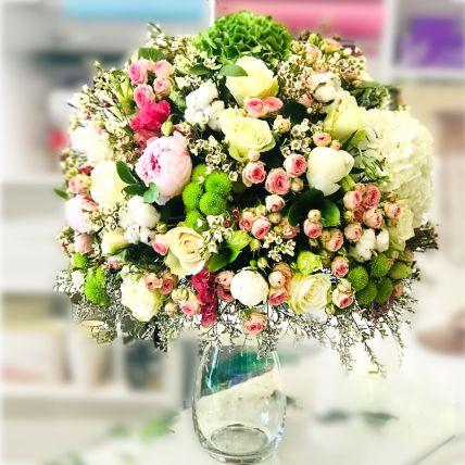 Mesmerising Mixed Flowers Glass Vase Arrangement