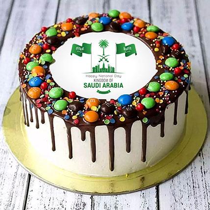 كيكة اليوم الوطني السعودي بشوكولاتة إم أند إمز - نصف كجم