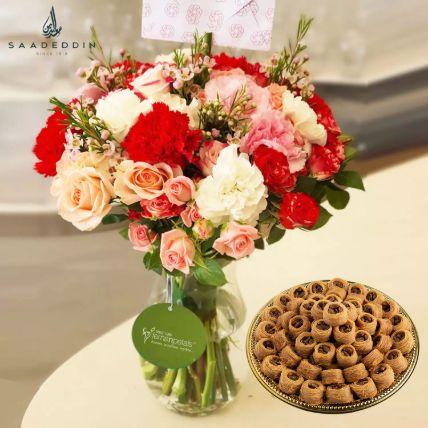 Nightingale Sweet 1 Kg And Mix Flower Vase