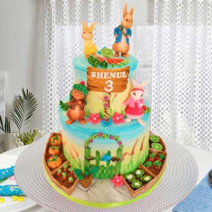 Peter Rabbit Theme Cake 12 Portions Vanilla