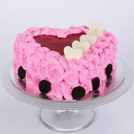 Pink Floral Heart Cake 1.5 Kg