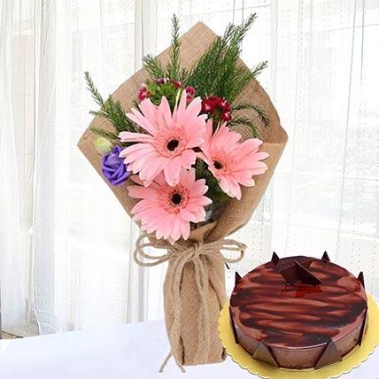 Pink Gerberas & Chocolate Ganache Cake 12 Portions