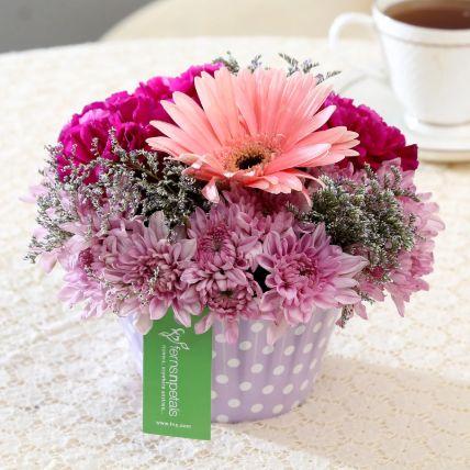 تشكيلة زهور وردي وأرجواني