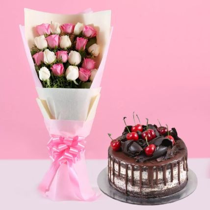 Pink White Roses & Black Forest Cake 8 Portions