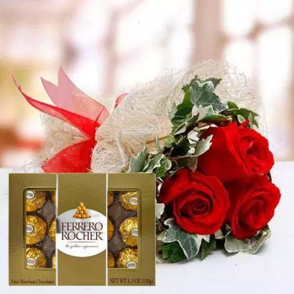 Pretty Roses & Ferrero Rocher Box