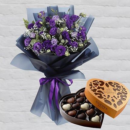 Purple Lisianthus & Godiva Chocolates 500 gms