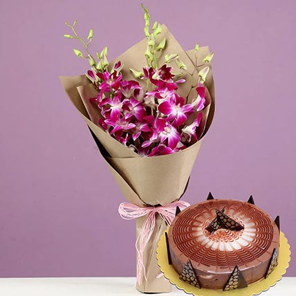 Purple Orchids & Cappuccino Cake 12 Portions