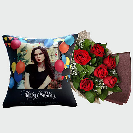 Red Rose Bouquet And Personalised Cushion
