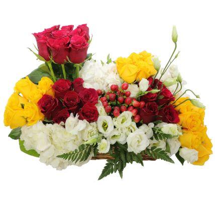 Red & Yellow Roses Basket Arrangement