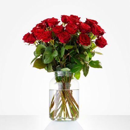 Romantic Red Rose Vase Arrangement