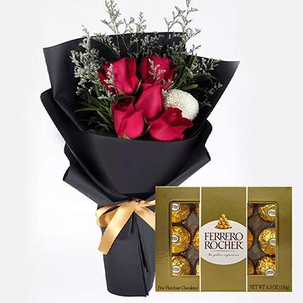 ورود حمراء رومانسية وشوكولاتة فيريروروشيه 12 قطعة