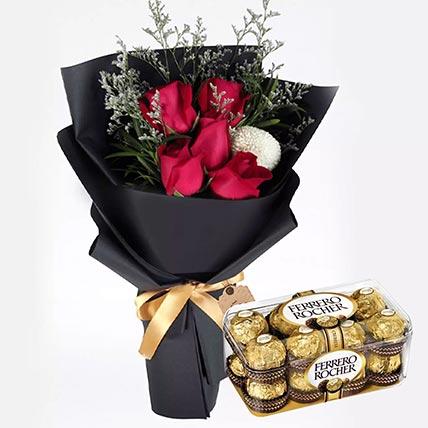 ورود حمراء رومانسية وشوكولاتة فيريروروشيه 16 قطعة