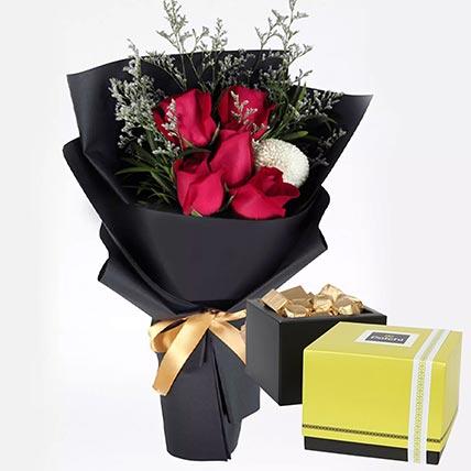 ورود حمراء رومانسية وشوكولاتة باتشي 250 جرام