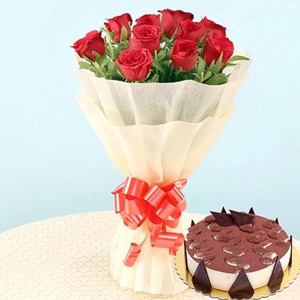 Romantic Roses & Tiramisu Cake 12 Portions
