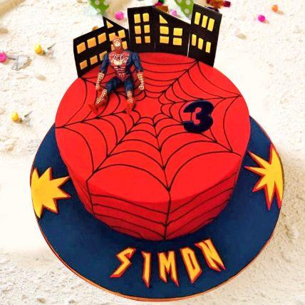 Spiderman Theme Cake 16 Portions Chocolate