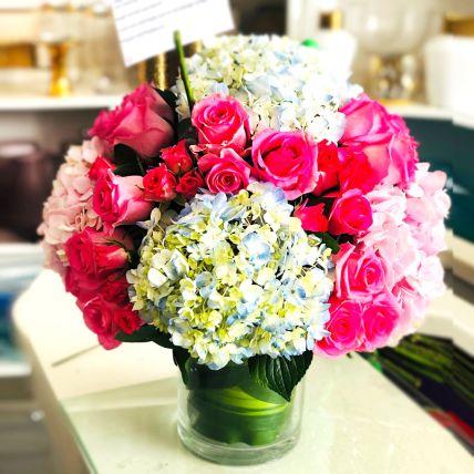 Striking Mixed Hydrangea & Roses Glass Vase Arrangement